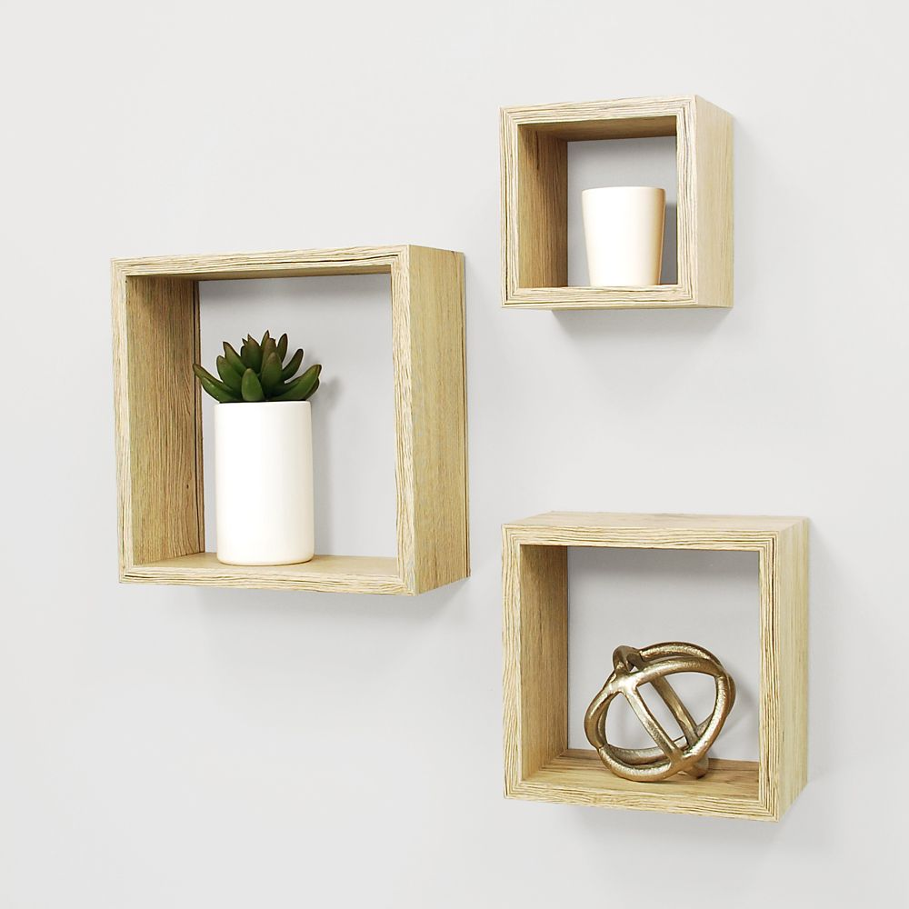 Kiera Grace Cubbi 3 Pc Wall Shelf 5x5-inch , 7x7-inch , 9x9-inch - Pale Natural Finish
