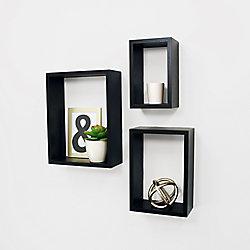 Kiera Grace Nesting 3-Piece Wall Shelf 5x8 Inch , 7x10 Inch , 9x12 Inch - Black