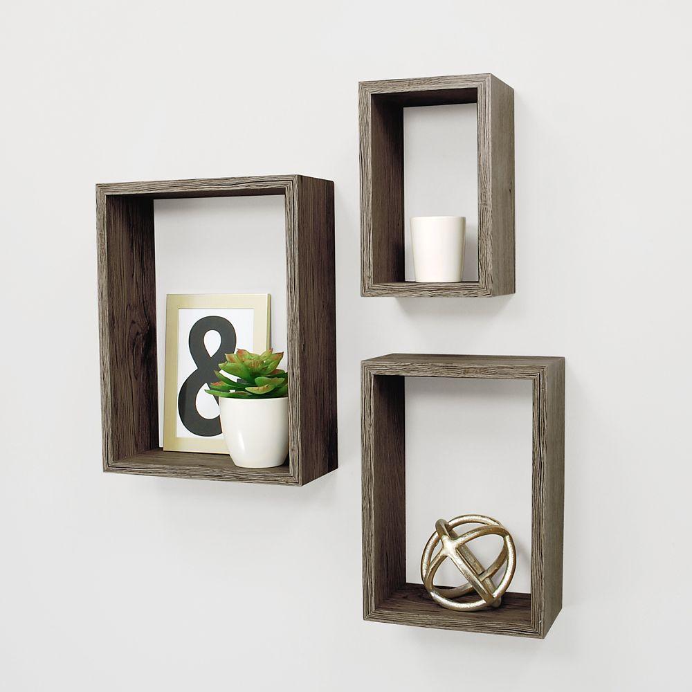 Kiera Grace Nesting 3 Pc Wall Shelf 5x8 Inch , 7x10 Inch , 9x12 Inch - Driftwood Grey