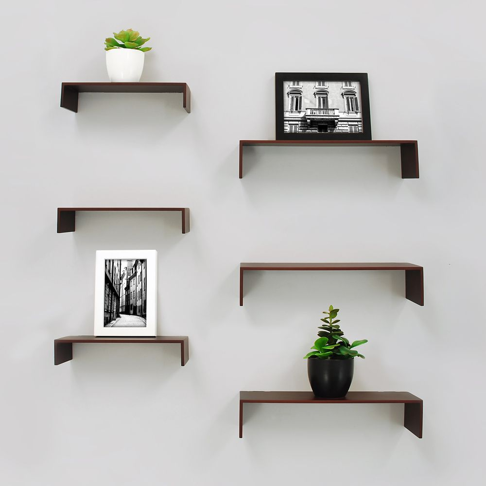 Extense 6 Pack Wall Shelves  Espresso