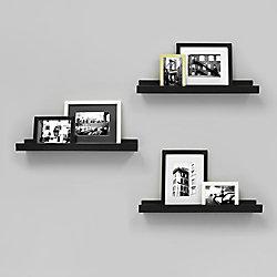 Kiera Grace Edge - 23x4 Inch Picture Frame Ledge- Black (3-Pack)