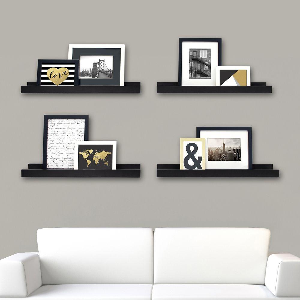 Kiera Grace Edge Pack of 4- 23x4 Inch  Picture Frame Ledge- Black