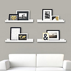 Edge - 23x4 Inch Picture Frame Ledge- White (4-Pack)