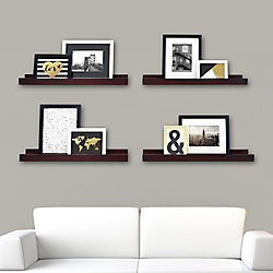 Kiera Grace Edge - 23x4 Inch Picture Frame Ledge- Espresso (4-Pack)