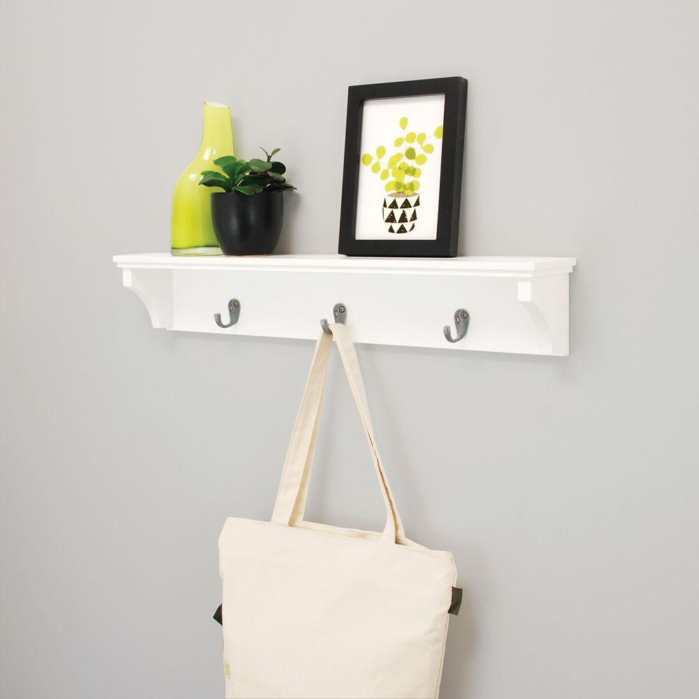 Kiera Grace Finley 24x4x4.25 Inch  Wall Shelf with 3 Metal Hooks- White