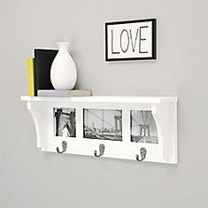 Riley 18.75 po x 4 po x 7 po étagère murale et cadre de montage -Blanc