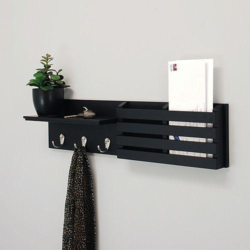 Kiera Grace Sydney 24x4.25x6 Inch  Wall Shelf & Mail Sorter- Black