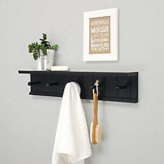 Kian 24 po x 4 po x 5.25 po étagère murale avec 5 crochets -Noire