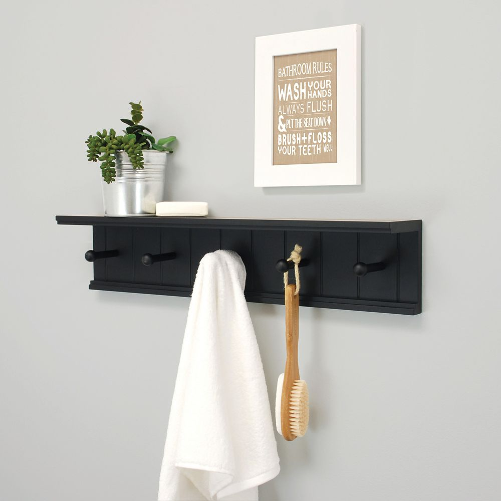 wall shelf home the mounted in prepac coat racks with rack bec black depot p