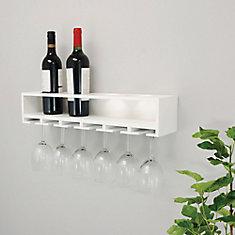 Claret 22x5x4.5 Inch Wine Bottle & Glass Holder Wall Shelf- White