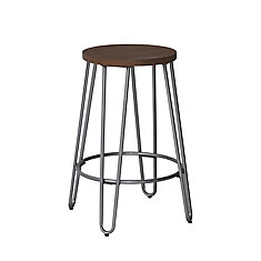 Quinn Metal Natural Industrial Backless Armless Bar Stool with Brown Wood Seat
