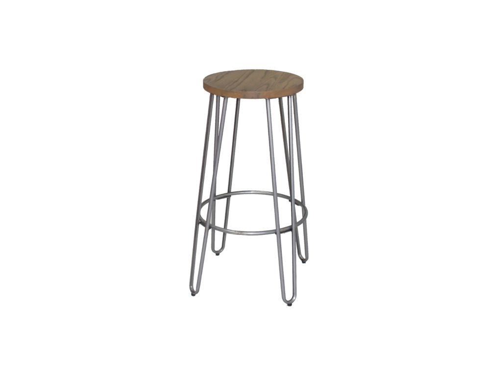 Metal Natural Industrial Backless Armless Bar Stool with Natural Metal Seat