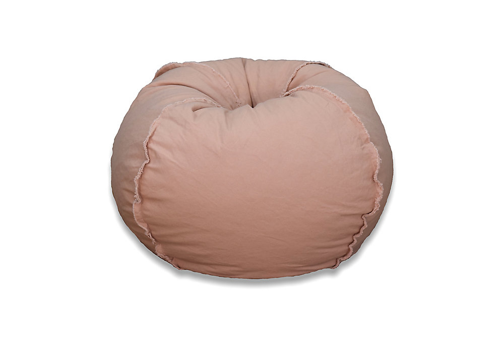 large canvas with exposed seams bean bag in dusty pink