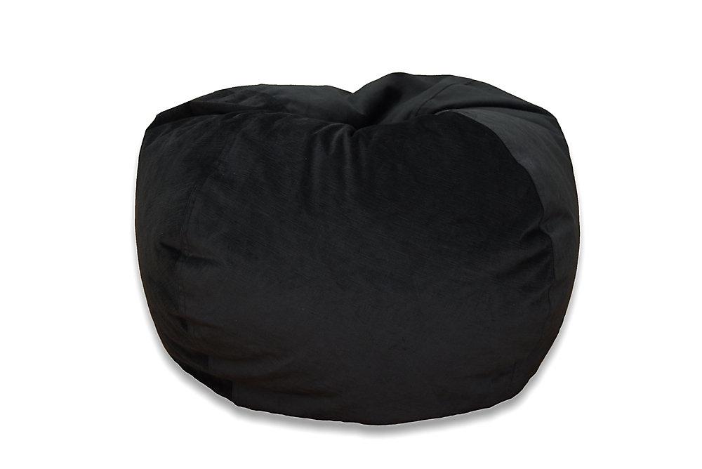 large textured velvet bean bag in ebony