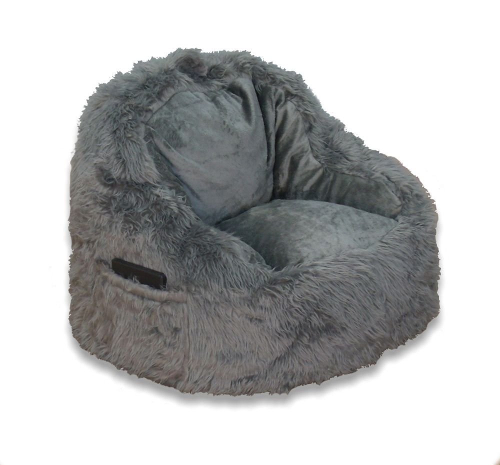 Fur Chair With Tablet Pocket In Grey