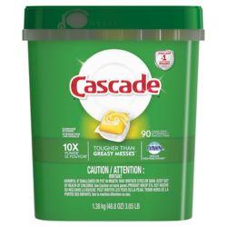 Cascade ActionPacs Dishwasher Detergent, Lemon Scent, 90 count