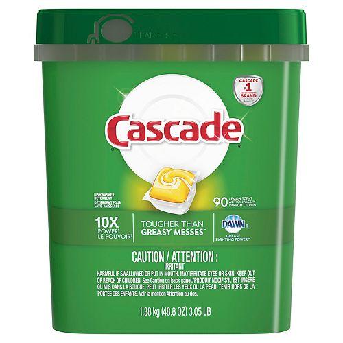 Cascade ActionPacs Dishwasher Detergent, Lemon Scent (90-Count)