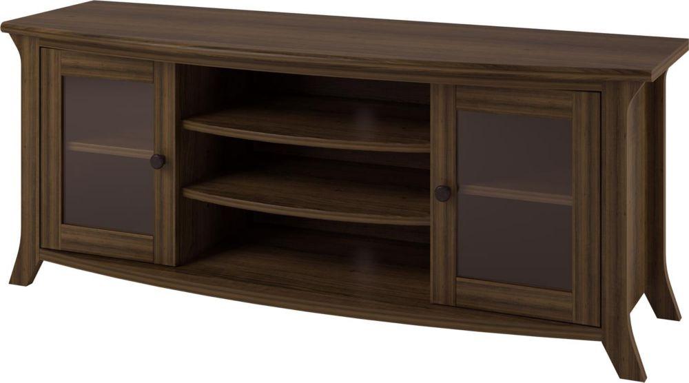 Dorel Oakridge 60 Inch TV Stand with Glass Doors, Homestead Oak