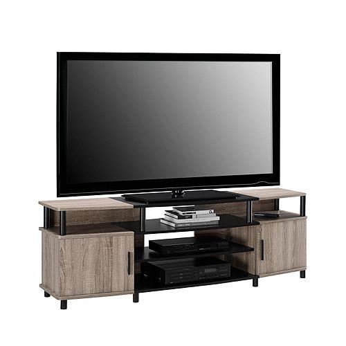 Dorel Carson 135 lb. Capacity Entertainment Console for 70-inch TVs in Sonoma Oak and Black