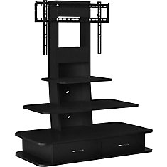 Galaxy TV Stand for 70-inch TVs with Mount and Drawers in Black