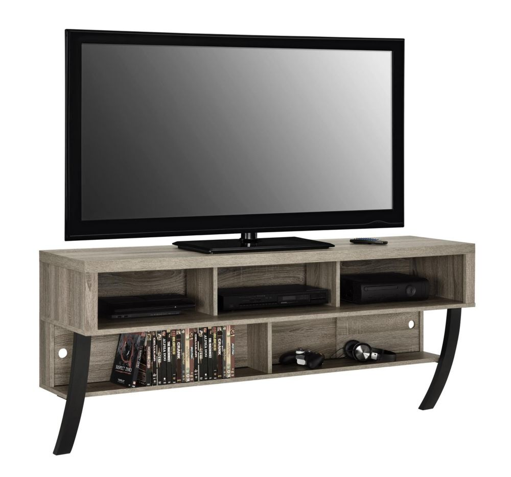 Dorel Asher Wall Mounted 135 lb. Capacity 5-Shelf TV Stand for 65-inch TVs in Sonoma Oak