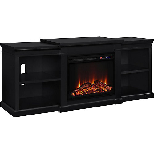 Manchester 135 lb. Capacity Electric Fireplace TV Stand with Side Shelves for 70-inch TVs in Black