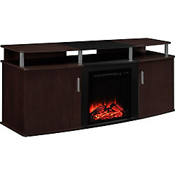 Dorel Carson 135 lb. Capacity Electric Fireplace Entertainment Console for 70-inch TVs in Cherry and Black