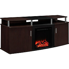 Carson 135 lb. Capacity Electric Fireplace Entertainment Console for 70-inch TVs in Cherry and Black