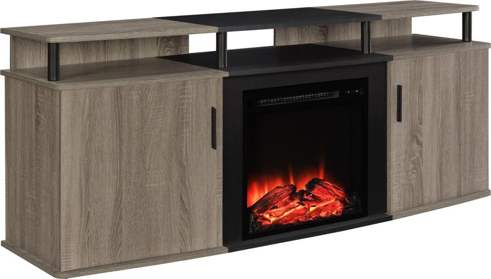Dorel Carson Electric 135 lb. Capacity Fireplace Entertainment Console for 70-inch TVs in Sonoma Oak and Black