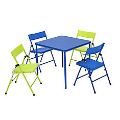 5-Piece Kids' Table & Chair Set in Blue and Green