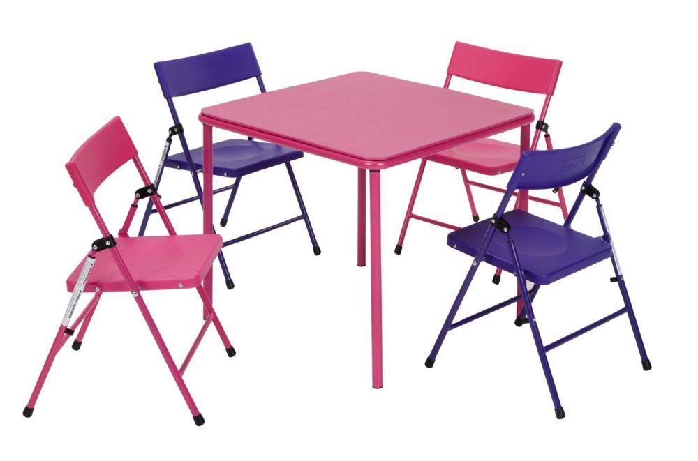 Cosco 5-Piece Kids' Table & Chair Set in Pink and Purple
