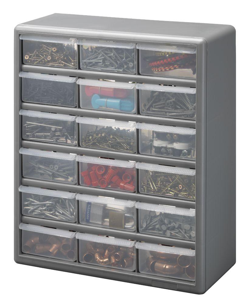 18 Bin Plastic Drawer Cabinets, Silver Gray