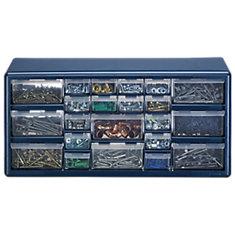 22 Bin Plastic Drawer Cabinet, Silver Gray