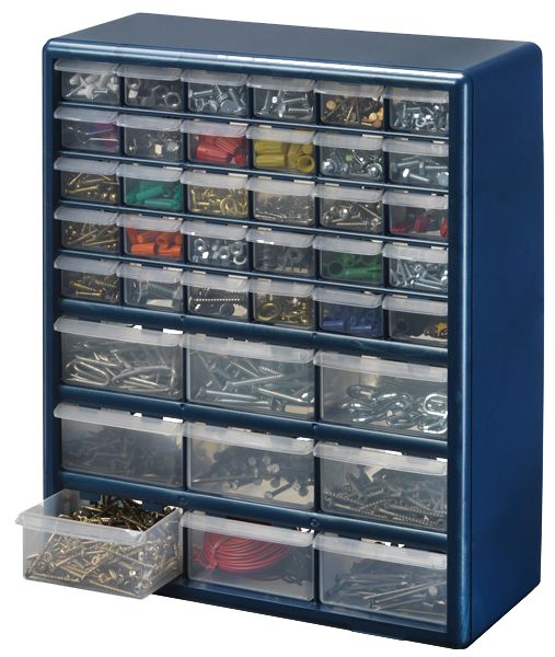 Stack On 39 Bin Plastic Drawer Cabinet, Silver Gray | The Home ...