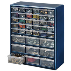 39 Bin Plastic Drawer Cabinet, Silver Gray