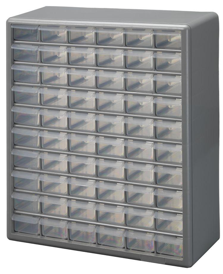 60 Bin Plastic Drawer Cabinet, Silver Gray