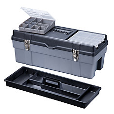 26 Inch Plastic Heavy Duty Tool Box Deluxe Lid Storage Yellow