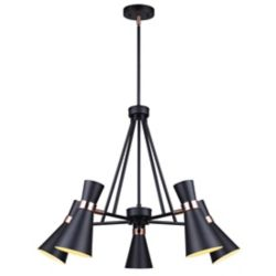 Canarm GRIFFITH 5-Light 60W Black and Bronze Chandelier with Metal Shade