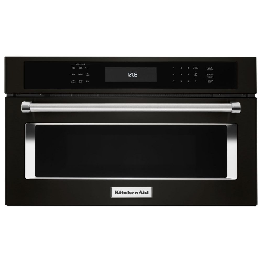 Black Stainless 30 Inch Built In Microwave Oven With Convection Cooking