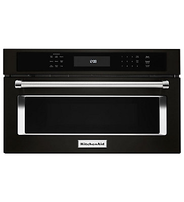 Kitchenaid Black Stainless 27 Inch Built In Microwave Oven With Convection Cooking The Home Depot Canada