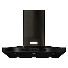 Black Stainless, 36 Inch Island-Mount, 3-Speed Canopy Hood