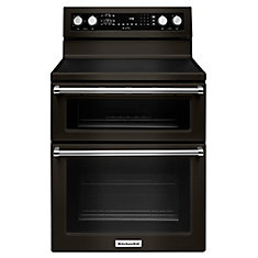6.7 cu. ft. Double Oven Electric Range with Self-Cleaning Convection Oven in Black Stainless Steel