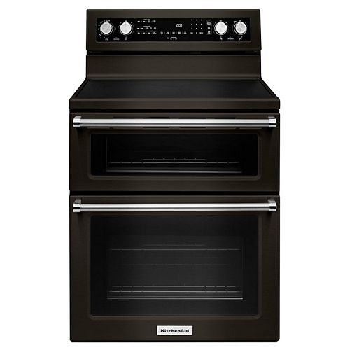 KitchenAid 6.7 cu. ft. Double Oven Electric Range with Self-Cleaning Convection Oven in Black Stainless Steel