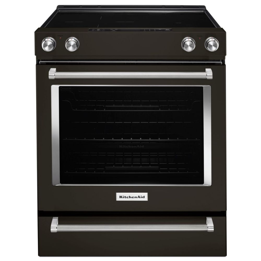KitchenAid 30-inch Single Oven Electric Range with Self-Cleaning Convection Oven in Black Stainless Steel