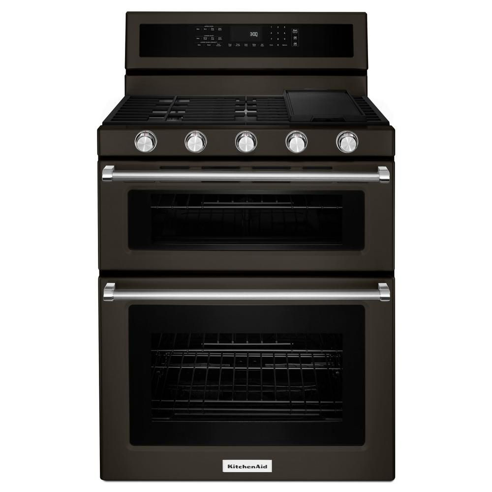Black Stainless, 30-Inch 5 Burner Gas Double Oven Convection Range