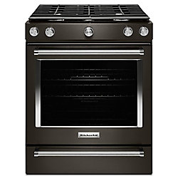 5.8 cu. ft. Slide-In Gas Range with Self-Cleaning Convection Oven in Black Stainless Steel