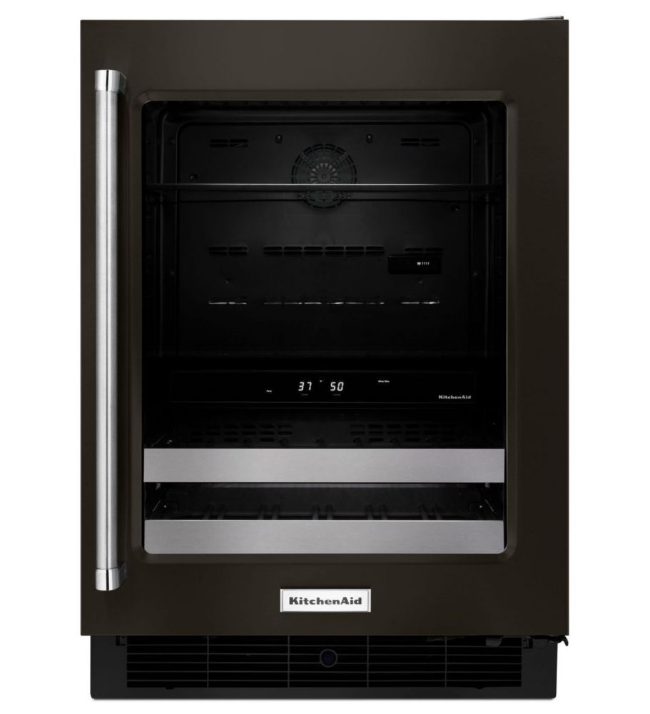 24 Inch Black Stainless Steel Beverage Center With Satinglide Metal-Front Racks Right Swing