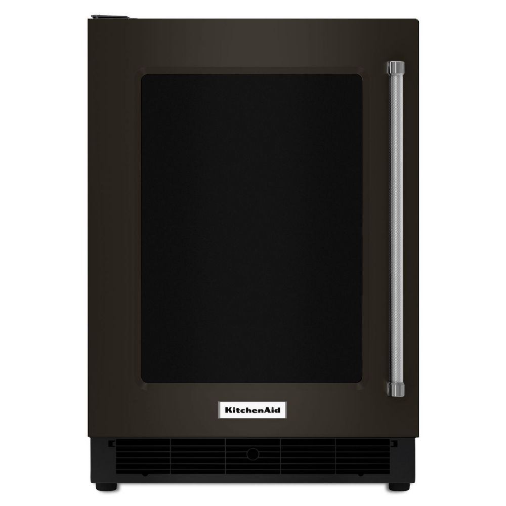 KitchenAid Black Stainless, 24 Inch Undercounter Refrigerator With Glass Door And Metal Trim Shelves