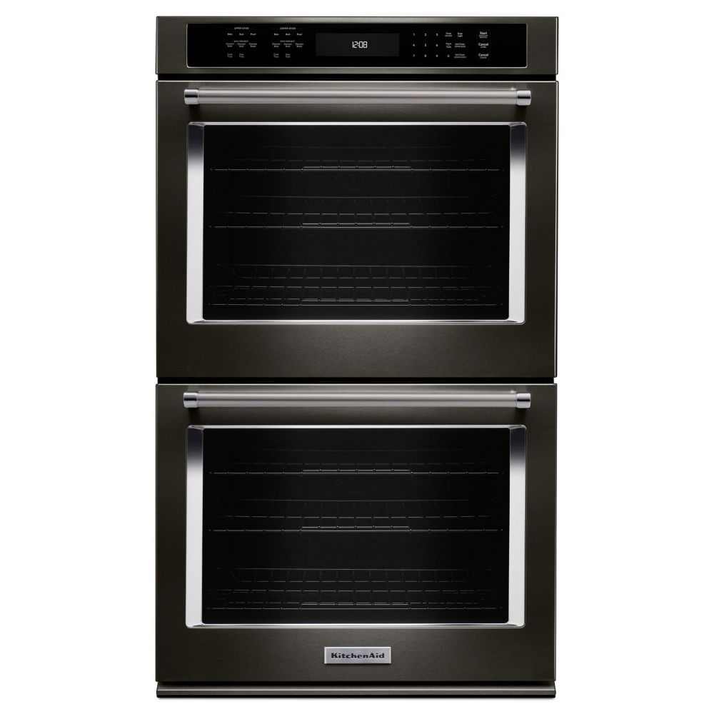 KitchenAid 10 cu. ft. Electric Double Wall Oven with Even-Heat True Convection in Black Stainless Steel