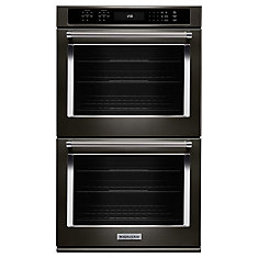 27-inch 8.6 cu. ft. Double Electric Wall Oven Self-Cleaning with Convection in Black Stainless Steel